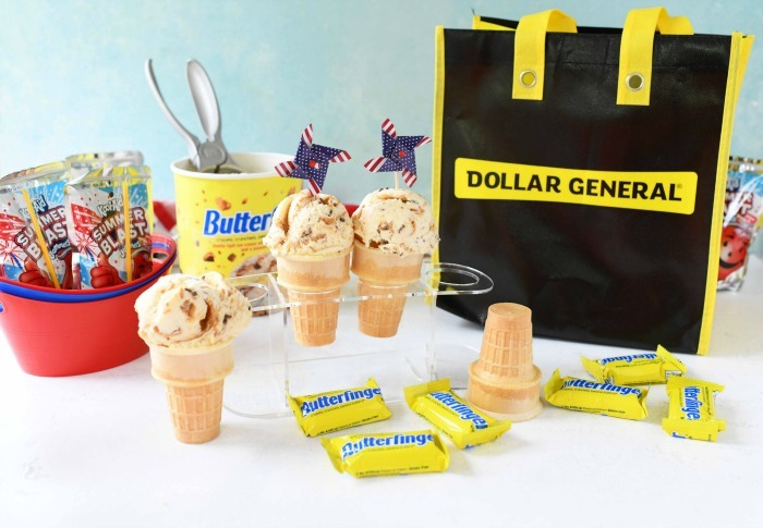 Butterfinger Ice Cream cones on table with Dollar General bag.