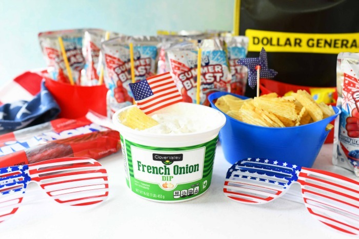 Clover valley dip on table with snack foods.