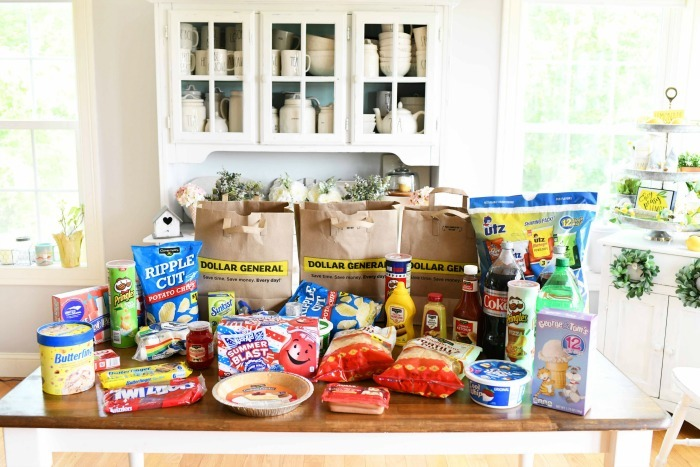 Dollar General Groceries Haul on kitchen table
