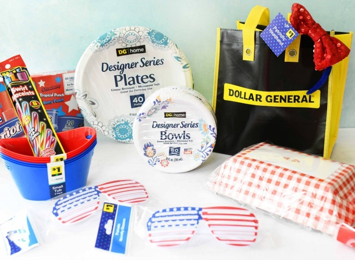 Patriotic Finds at Dollar General on white table with blue background.