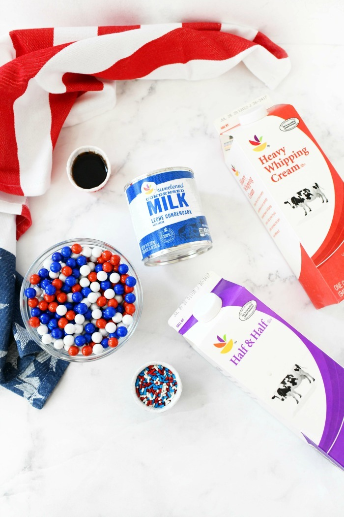 Patriotic ice cream ingredients