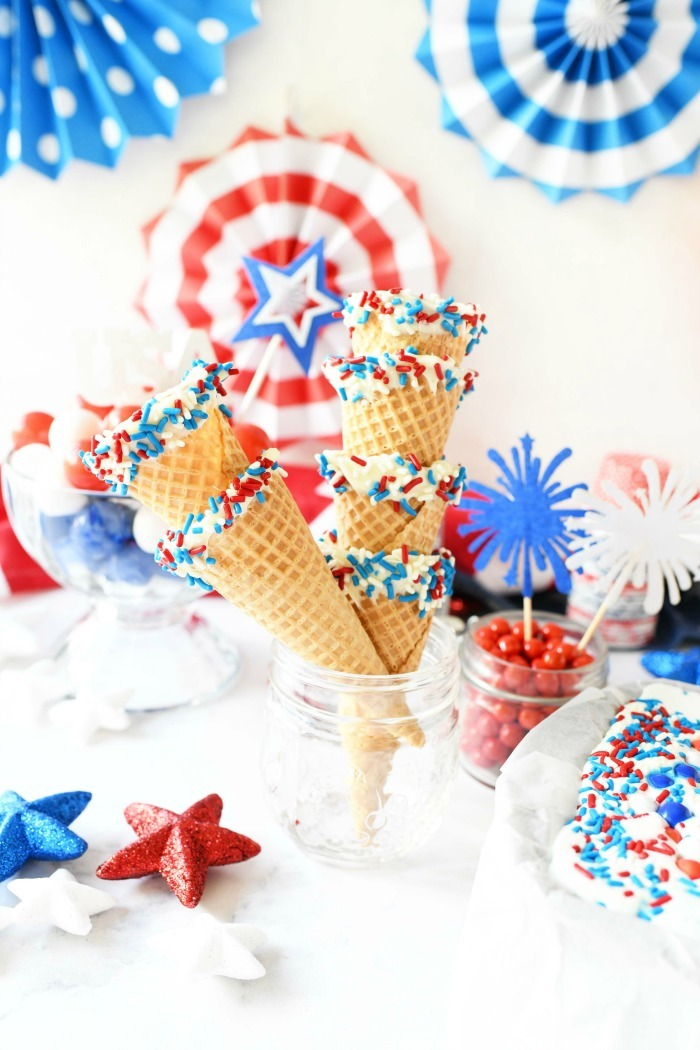Red, white, blue ice cream cones in a patriotic ice cream bar.