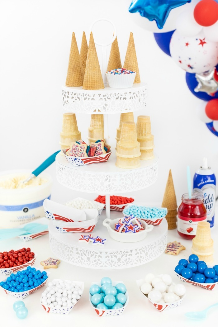 Patriotic Ice Cream bar with cones and candies.