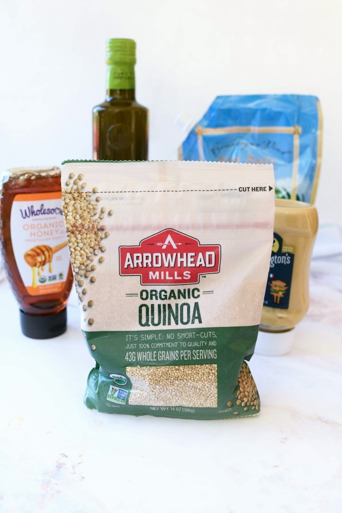 Arrowhead Mills Quinoa dry in bag on white table.
