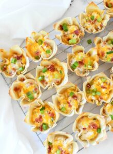 Bacon & Cheese Crispy Cups on wire rack.