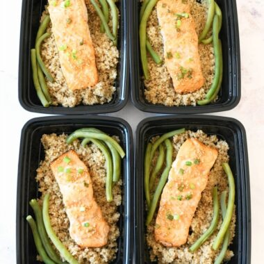 Honey Mustard Salmon Meal prep containers filled.