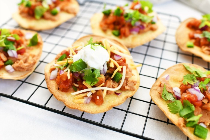 Meatless Tostadas with colorful toppings.