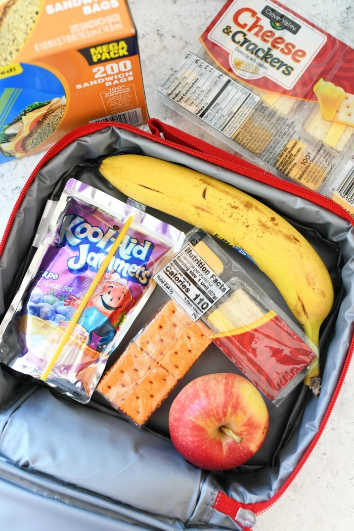 Snack lunch box filled with snacks.