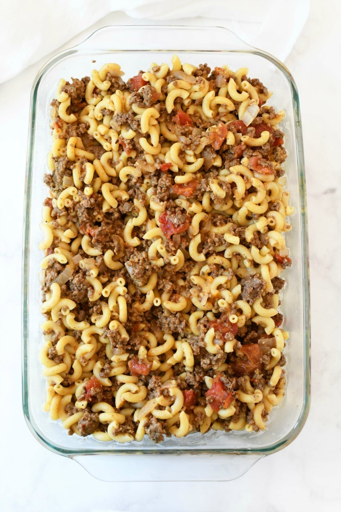 Cheeseburger casserole meal without cheese.