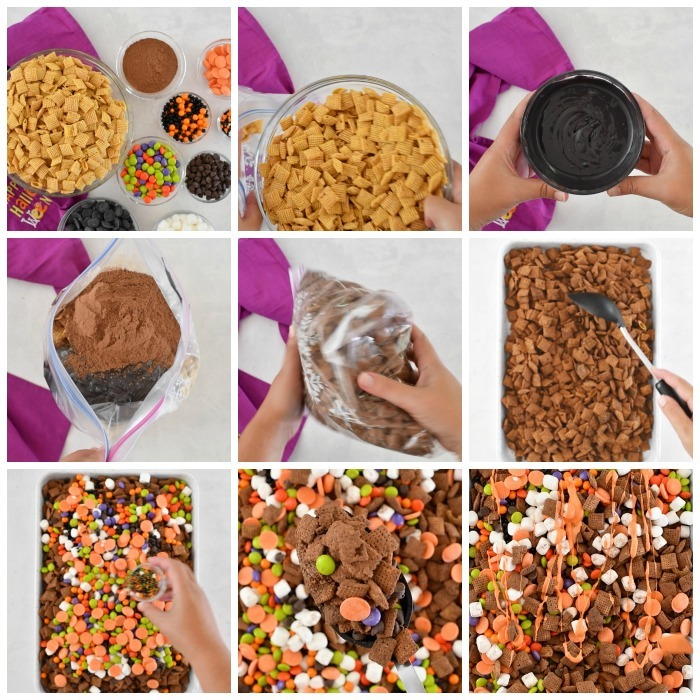 Halloween Monster Munch process grid of making this mix.