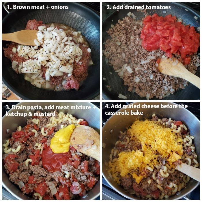 How to make cheeseburger casserole process shot grid.