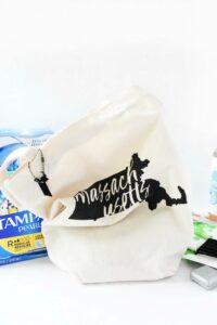 Massachusetts canvas bag on a white counter