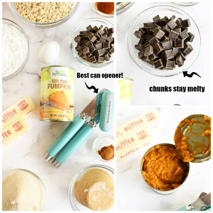 Oatmeal Chocolate Chunk Cookies ingredients on a white table.