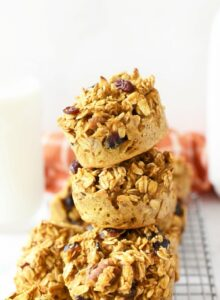 Oatmeal Pumpkin cups stacked in 3.