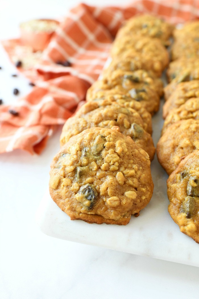 Soft-Baked Pumpkin Oatmeal cookies on a tray.