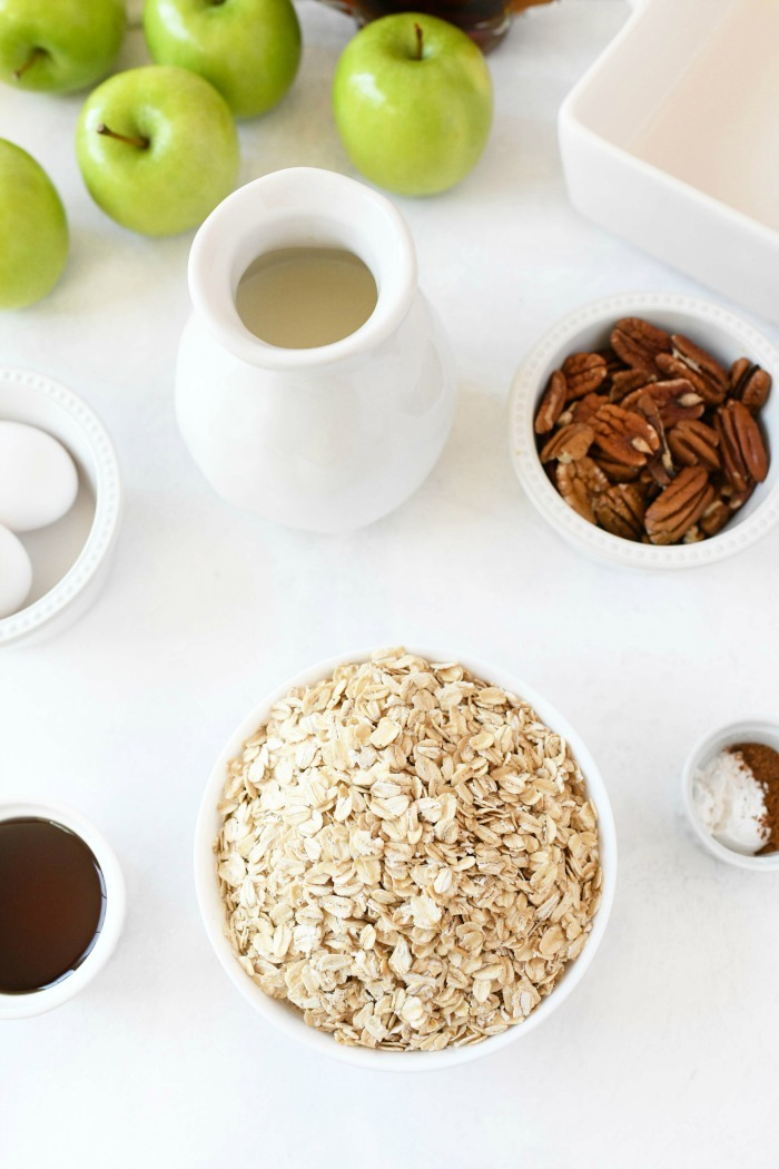 apple Oatmeal ingredients on a white table.