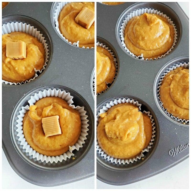 Caramel-Stuffed Pumpkin Muffins in a muffin tin.