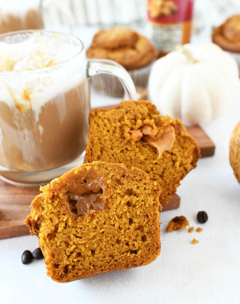 Caramel Stuffed pumpkin jumbo muffins