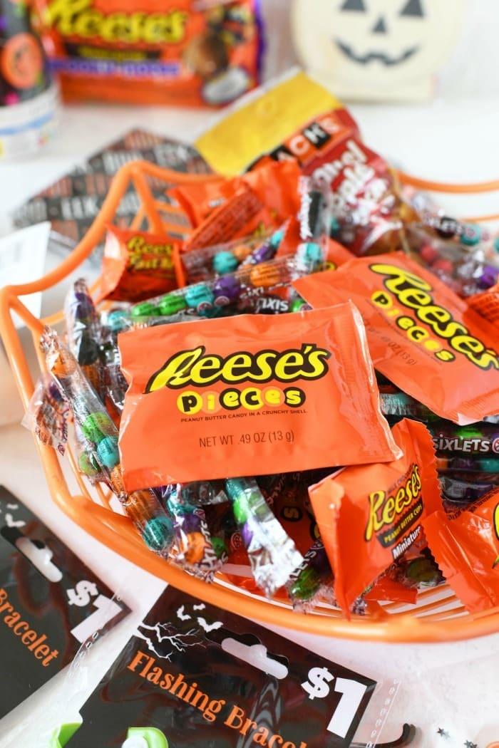 Halloween Candy in a Halloween bucket.