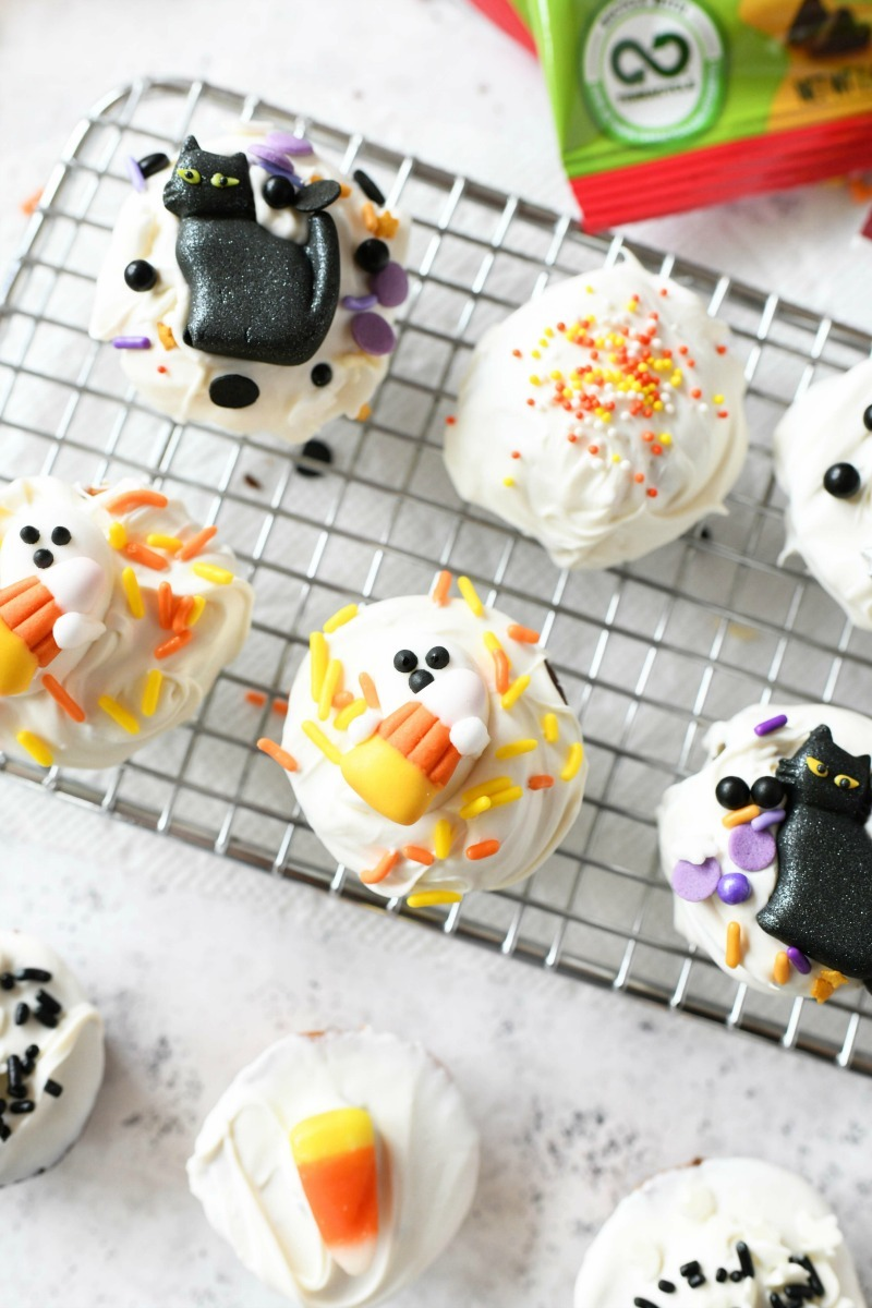 Halloween decorated Little Bites on a baking rack.