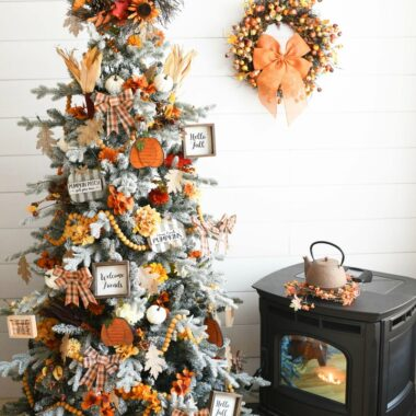 Harvest Tree near a pellet stove and fall wreath.