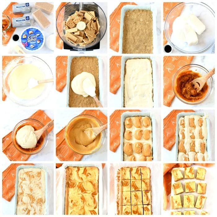 How to make pumpkin cheesecake bars each step is visually shown in a grid shot.
