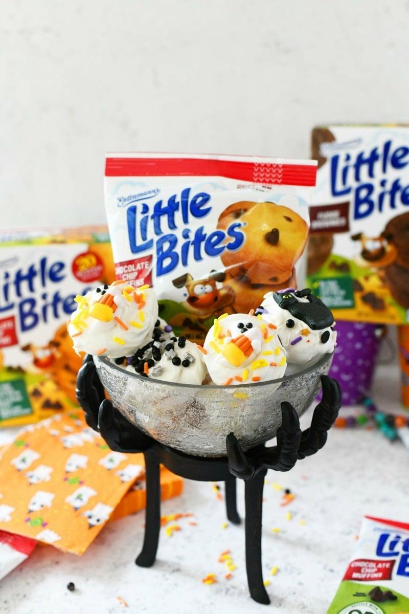 Little Bites Halloween treats in a halloween themed glass dish.