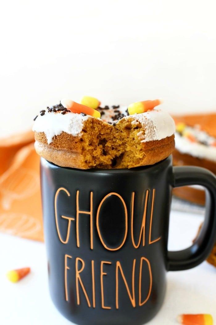 Pumpkin Baked Donut on a black mug.