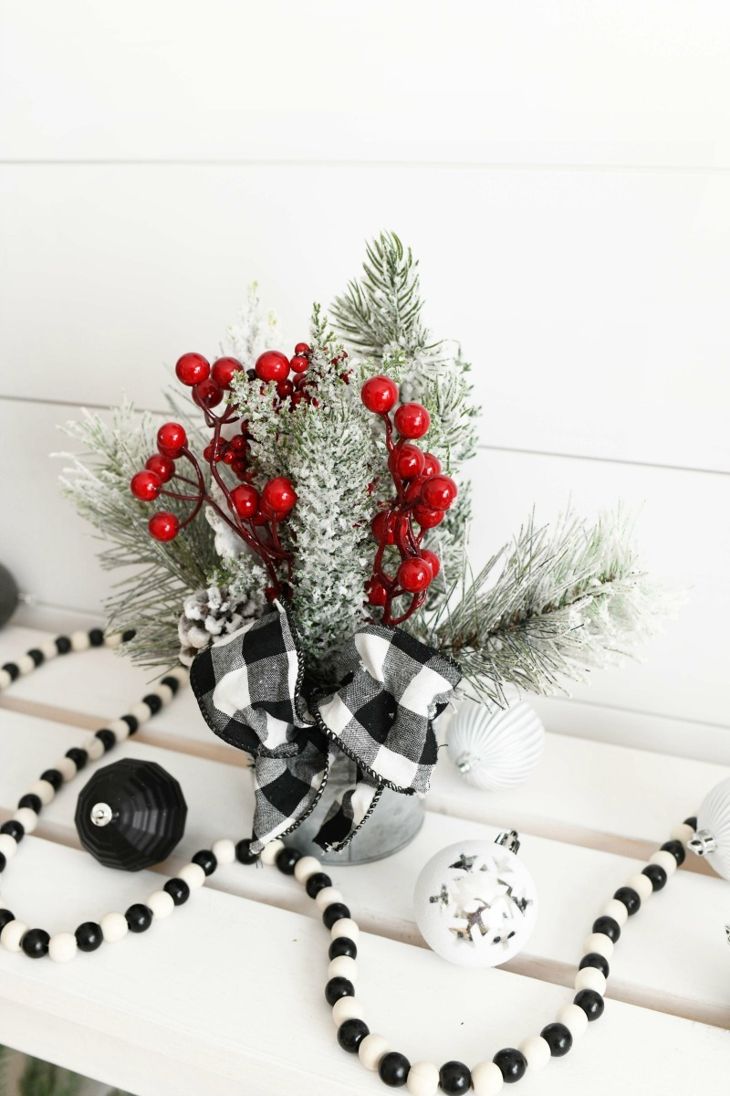 Black & White tabletop planter on a white shelf.