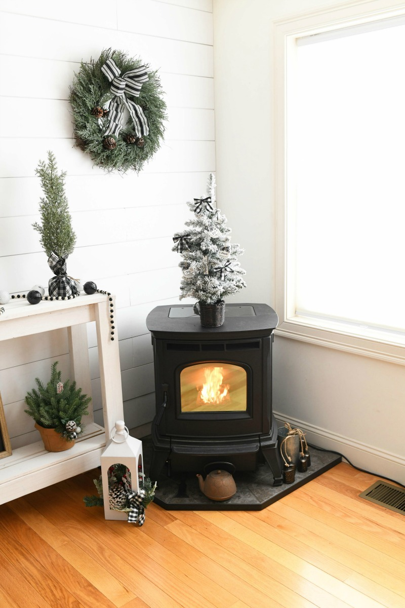 Farmhouse Pellet stove lit.