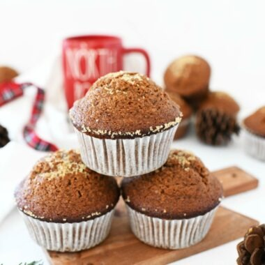 Gingerbread Moist Muffins on a mini cutting board.