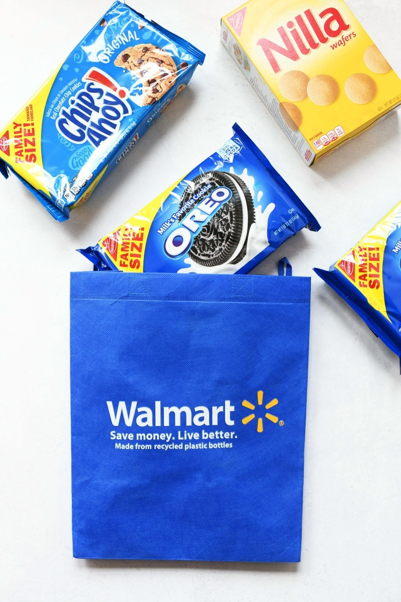 Nabisco Cookies at Walmart with a blue walmart bag and cookie packages.