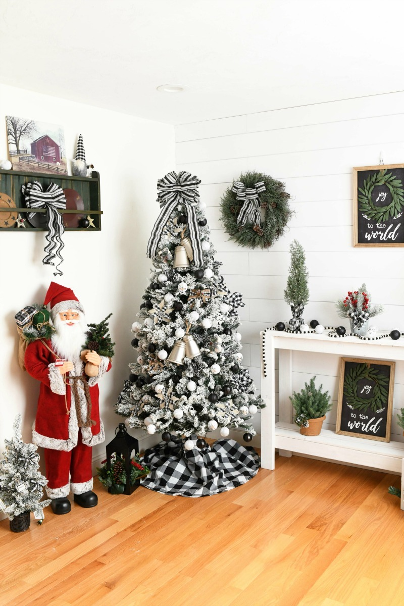 Walmart Farmhouse Christmas look in white and bright room.