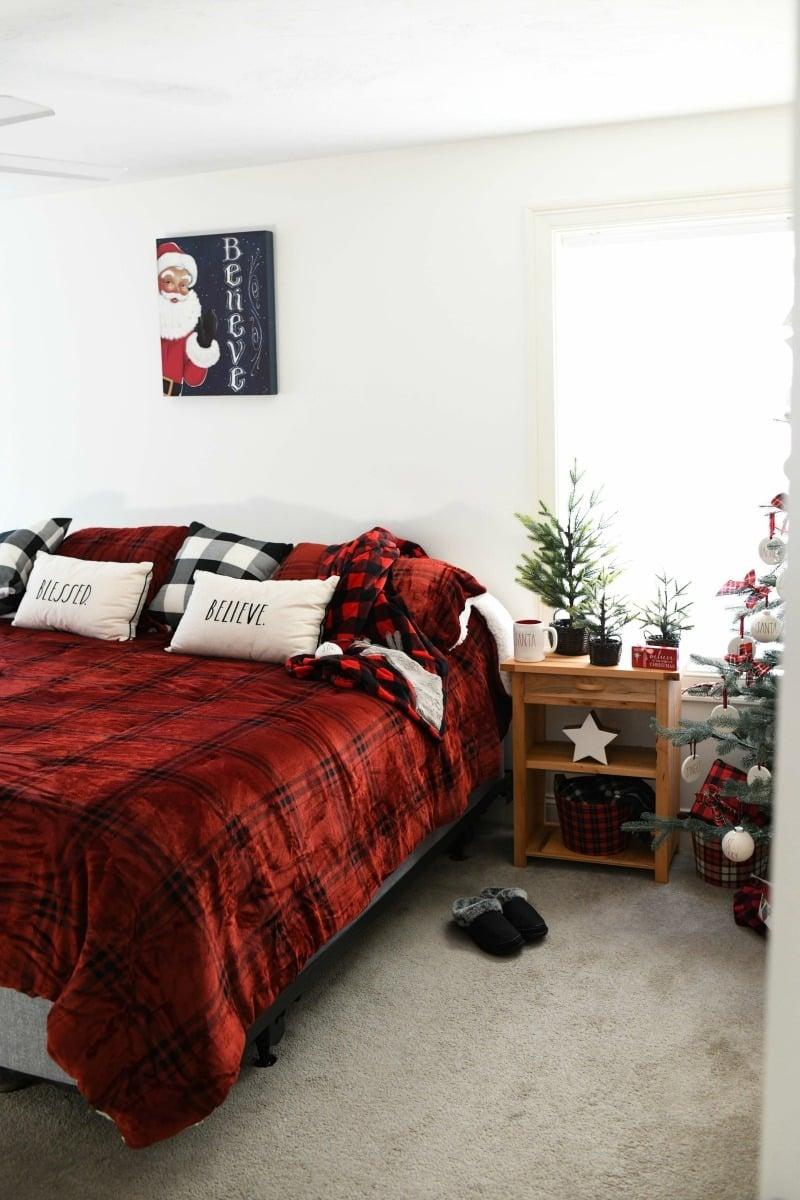 Target fleece comforter in Christmas themed bedroom.