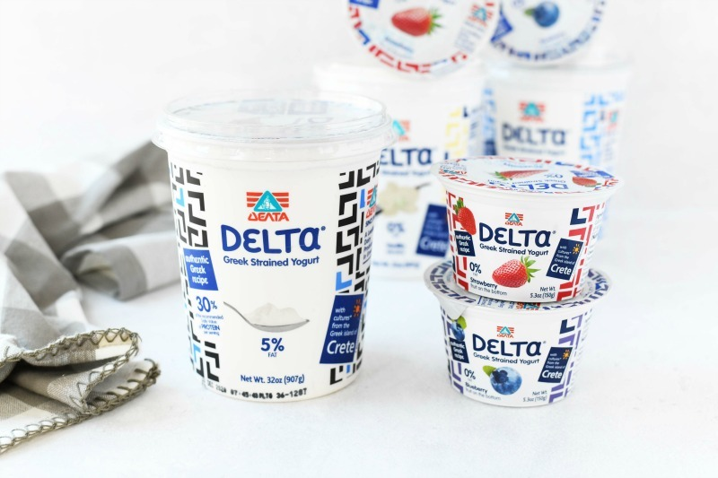 Delta Greek Yogurt plain on a white table.