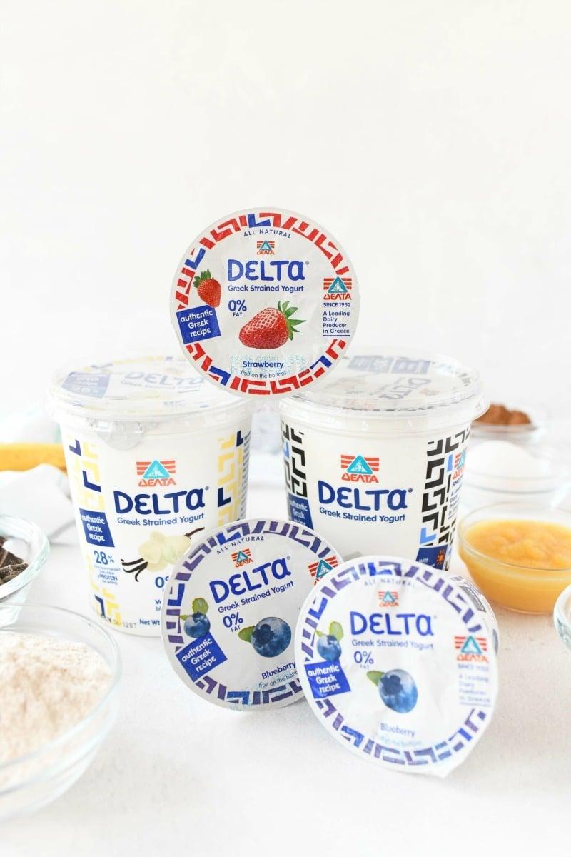 Delta Greek yogurt on white table.