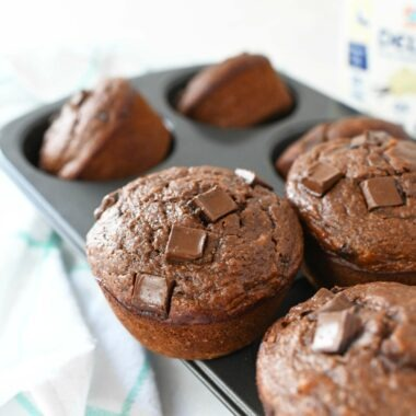 Double Chocolate Chunk Muffins in a muffin tin.