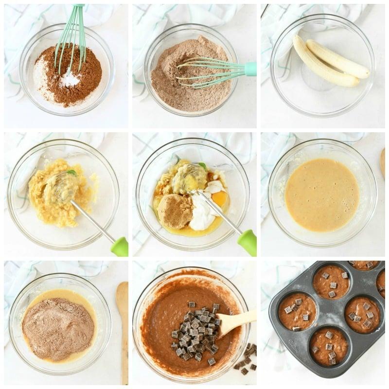 Healthy Double Chocolate Banana Muffins Recipe process shots.