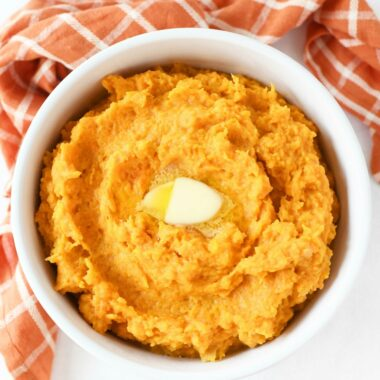 Mashed Butternut with sour cream and an orange plaid napkin.
