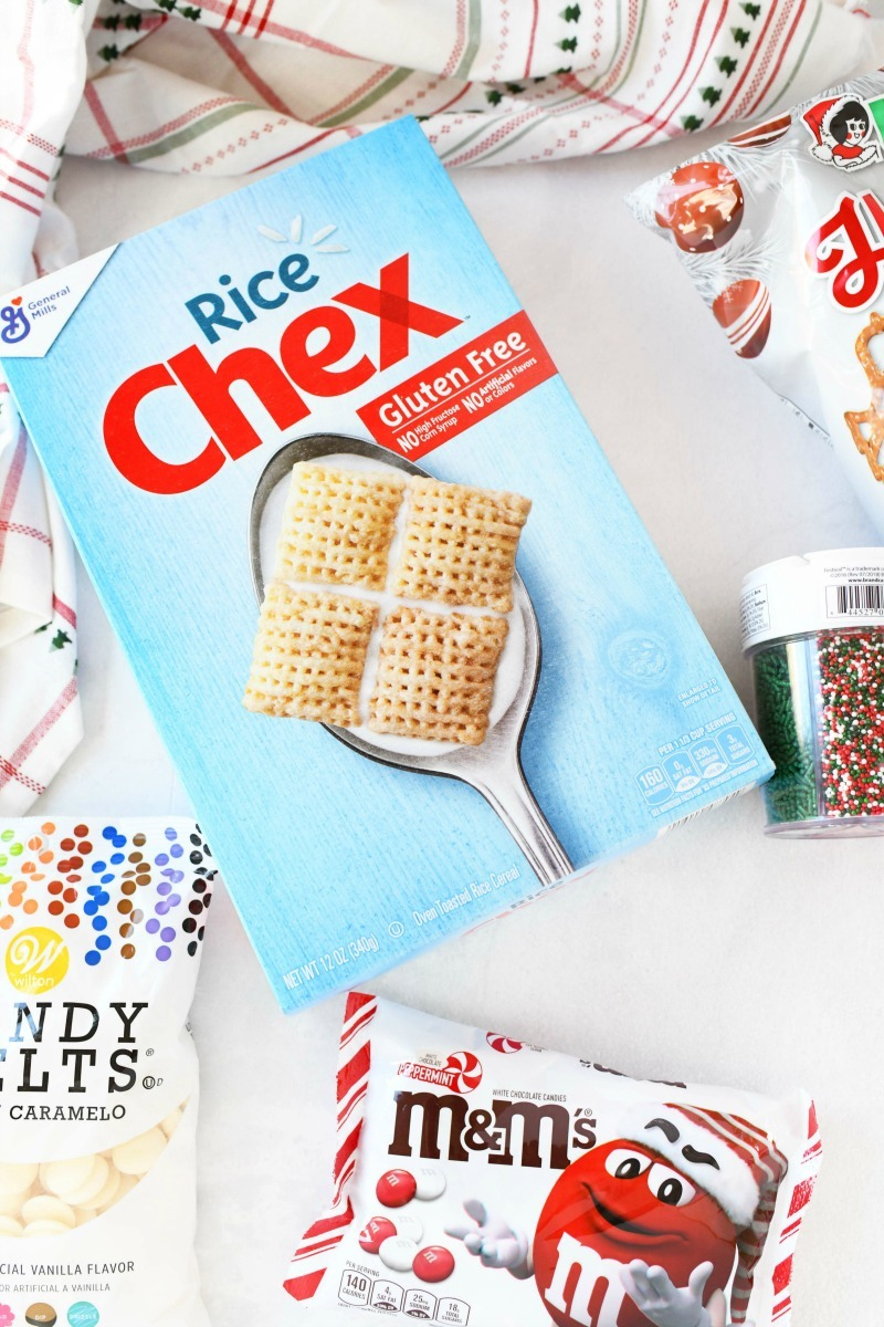 Rice chex mix cereal and Christmas snack mix ingredients.