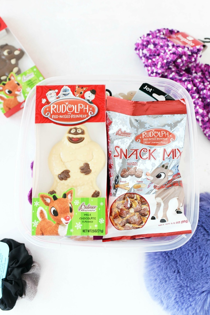 Rudolph Snack Mix and snow monster in a plastic box.