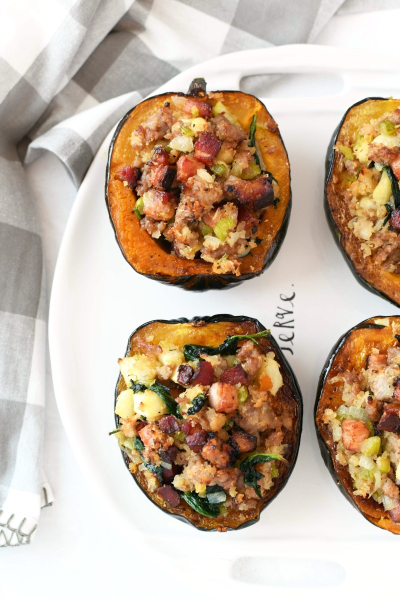 Twice Baked Acorn Squash on a white oval tray.