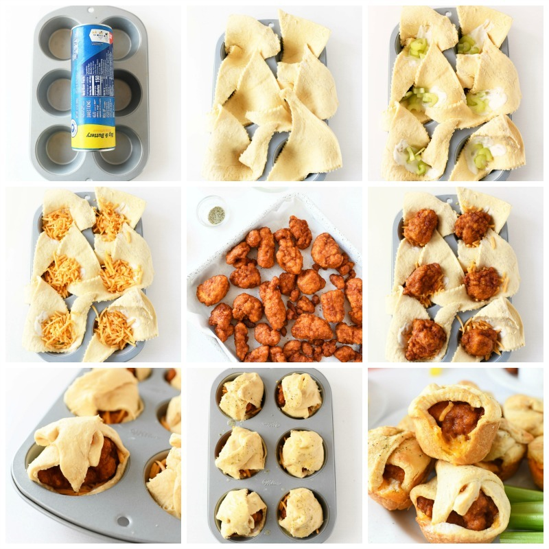 How to Make Crescent Dough Bites- a grid of 9 images showcasing the steps to make these bites from raw ingredients to baked buffalo chicken bites.