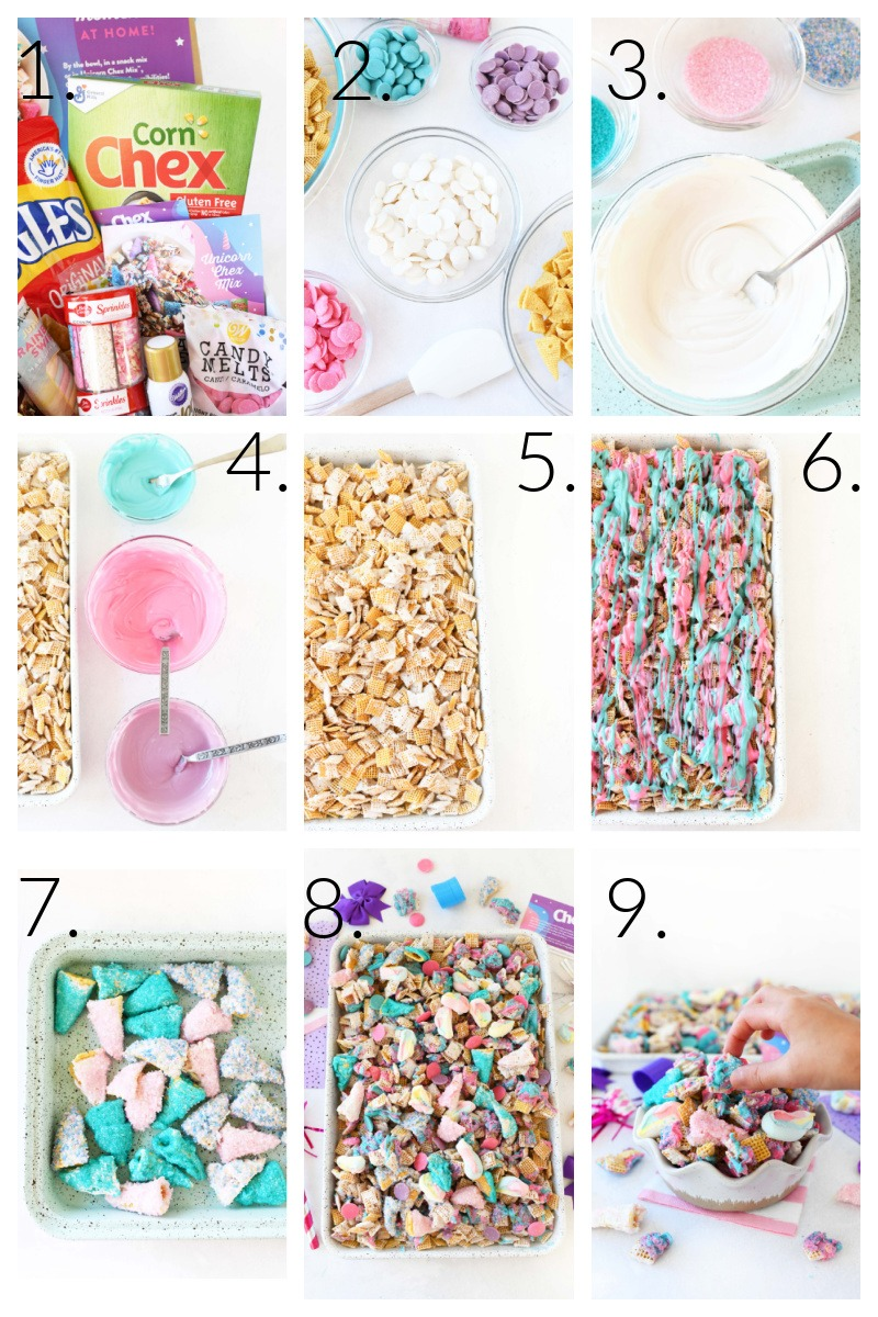 How to Make Unicorn Snack Mix- A visual grid of the steps to make this colorful snack mix from ingredients to the final product.