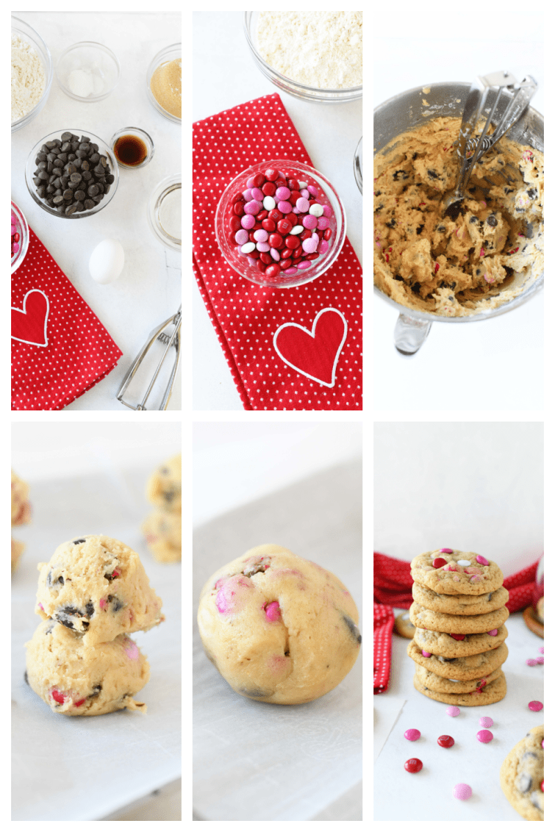 How to Make Valentines Day Chocolate Chip M&M cookies. A collage of 6 images that showcases the process of making these cookies. Ingredients shots showcase a red heart napkin and a variety of shots on how to make these Valentines day cookies.