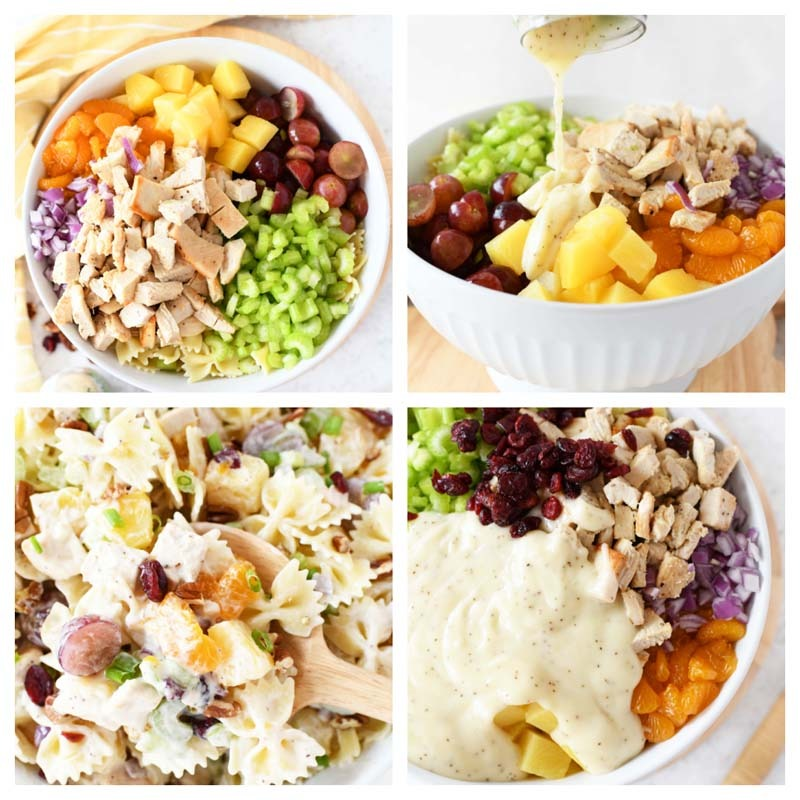 Making Tropical Chicken Salad- A 4 image grid of the process of making this delicious, colorful salad.