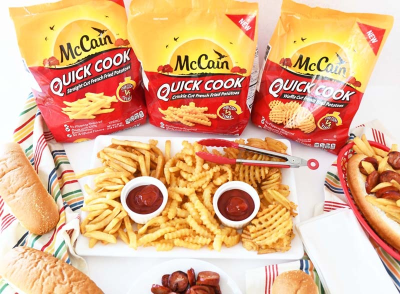 Quick Cook French Fries. Each variety is in the bag. There is also prepared fries with ketchup on a white rectangle.