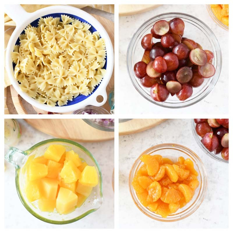 Tropical Chicken Salad Ingredients. Pasta, grapes, pineapple, and orange are in this 4-image grid.