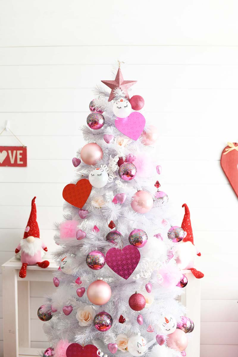 Valentines Heart Tree. A white tree with pink and red images.