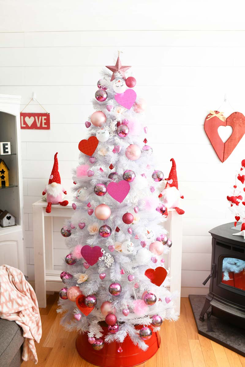 White Valentine Tree in a white themed farmhouse room.